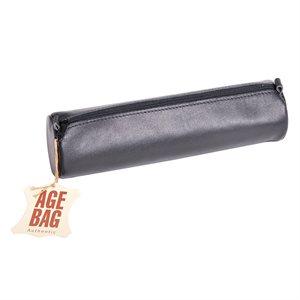Trousse à crayons ronde en cuir Noir