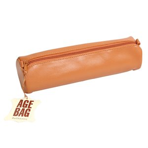 Round Leather Pencil Case Tobacco