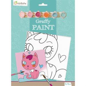 Toile à peindre Graffy Paint Chat coeur